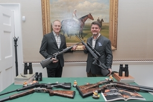 Guests at the Jockey Club were introduced to some of the country's most notable gunmakers (l to r: Ian Spicer and Jon Carrington from Blaser). Photocredit: Helen Tinner