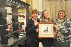 Arts and crafts on display at the Gunsmiths' Evening included prints by renowned Norfolk wildlife artist Annabel Pope. Photocredit: Helen Tinner