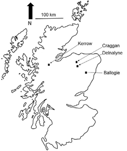 Figure 1: Map of experimental sites used across Northern Scotland, Ballogie, Delnalyne, Craggan and Kerrow