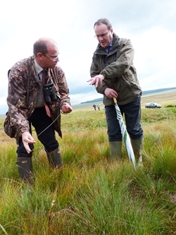 Minister for Environment Paul Wheelhouse (right) with Project Manager Graeme Dalby at Langholm Moor