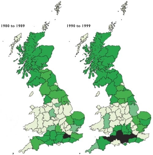 Roe deer distribution in 1980s and 1990s