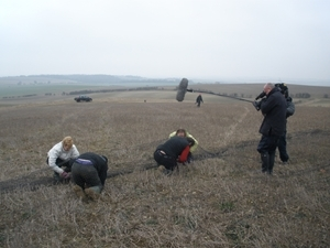 Demonstrating how to catch coveys at Royston for the BBC