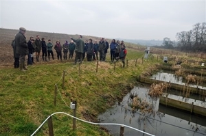 Dr Alastair Leake demonstrates the Allerton Project's environmental management programme for the Defra team