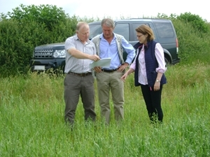 Pictured with the RT Hon Owen Paterson, Secretary of State for the Environment, (from left): Phil Jarvis, the GWCT's Allerton Project Farm Manager, Minister, Owen Paterson MP (centre) and Teresa Dent, Chief Executive of the Game & Wildlife Conservation Trust