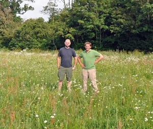 Mr John Phillips (right) and his gamekeeper Stephen Jones at Far Hill Farm in Gloucestershire. More than 17% of the whole farm is devoted to conservation with pollen and nectar mixes, wild bird seed crops, grass margins and lapwing plots producing a riot of colour during the summer months as well as providing vital food sources for insects and other wildlife