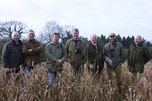 (l-r) Graham Hartwell (BASF and sponsor), Guy Smith (NFU Vice President), Iain Dillon (Farm Manager, RSPB Hope Farm), Joe Martin (FWAG Association Chair), Sir Jim Paice MP (Chair, GWCT Allerton Project), Tim Breitmeyer (CLA Vice President) and Jim Egan (GWCT)
