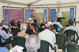 GWCT Head of Wetland Research Andrew Hoodless makes a presentation at the GWCT stand at the 2014 CLA Game Fair. (Photo: © Jon P Farmer)