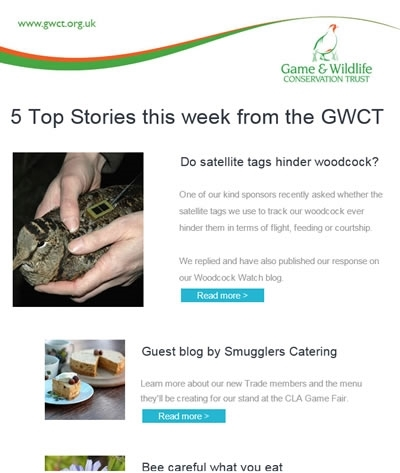 Free GWCT Newsletter