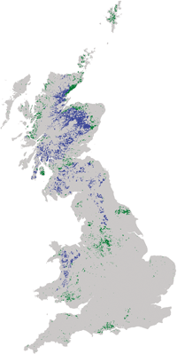 Black grouse habitat and distribution