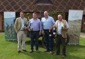 The winning team at the Waddesdon simulated game day on Friday 6 May show off their prizes (l to r) Rob Fenwick, Stewart Denton, Paul Poulter, Mickey Rouse. Photocredit: Richard Washbrooke Photography / www.richardwashbrooke.photoshelter.com