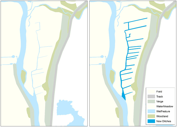 Maps of before (left) and after (right) ditch reinstatement and creation, using both existing and relict ditch lines to create more in-field wet feature