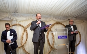 Accompanied by GWCT Nottinghamshire chairman Richard Thomas (centre), the auction was conducted by Ian Walter (left) and John Coles (right), and raised £57,000 for conservation research. Photocredit: Jason Glenn.