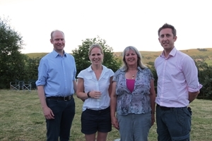 Amanda Perkins of the Curlew Country Project (2nd right) alongside GWCT supporters Tom Downes and Natalie and Andrew Liddiment
